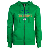 ENZA Ladies Kelly Green Fleece Full Zip Hoodie-2016 Atlantic Sun Conference Champions Mens Basketball