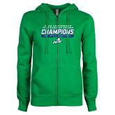 ENZA Ladies Kelly Green Fleece Full Zip Hoodie-Regular Season Champions 2017 Mens Basketball Bar Design