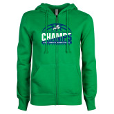ENZA Ladies Kelly Green Fleece Full Zip Hoodie-Regular Season Champions 2017 Mens Basketball Half Ball Design