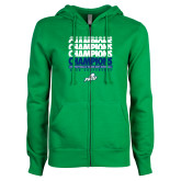 ENZA Ladies Kelly Green Fleece Full Zip Hoodie-Regular Season Champions 2017 Mens Basketball Champions Repeating