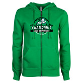 ENZA Ladies Kelly Green Fleece Full Zip Hoodie-Asun Conference 2017 Womens Basketball Champions