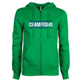 ENZA Ladies Kelly Green Fleece Full Zip Hoodie-ASUN Champions 2017 Mens Basketball