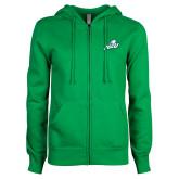ENZA Ladies Kelly Green Fleece Full Zip Hoodie-Primary Athletic Mark