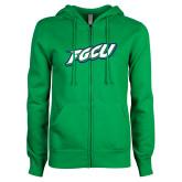 ENZA Ladies Kelly Green Fleece Full Zip Hoodie-FGCU