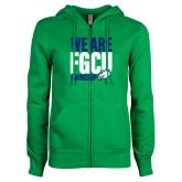 ENZA Ladies Kelly Green Fleece Full Zip Hoodie-We Are FGCU