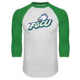 White/Kelly Green Raglan Baseball T Shirt-Primary Athletic Mark
