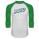 White/Kelly Green Raglan Baseball T Shirt-FGCU