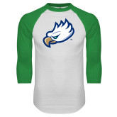 White/Kelly Green Raglan Baseball T Shirt-Eagle Head