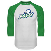 White/Kelly Green Raglan Baseball T Shirt-Primary Athletic Mark Distressed