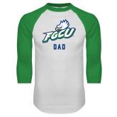 White/Kelly Green Raglan Baseball T Shirt-Dad