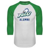 White/Kelly Green Raglan Baseball T Shirt-Alumni