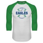White/Kelly Green Raglan Baseball T Shirt-Baseball Seams