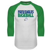 White/Kelly Green Raglan Baseball T Shirt-Baseball Stacked