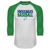 White/Kelly Green Raglan Baseball T Shirt-Baseball Stacked