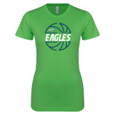 Next Level Ladies SoftStyle Junior Fitted Kelly Green Tee-Basketball in Ball