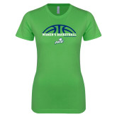 Next Level Ladies SoftStyle Junior Fitted Kelly Green Tee-Basketball Half Ball