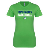 Next Level Ladies SoftStyle Junior Fitted Kelly Green Tee-Basketball Stacked