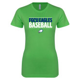 Next Level Ladies SoftStyle Junior Fitted Kelly Green Tee-Baseball Stacked