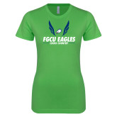 Next Level Ladies SoftStyle Junior Fitted Kelly Green Tee-Cross Country Wings