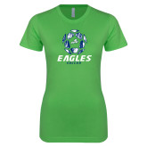 Next Level Ladies SoftStyle Junior Fitted Kelly Green Tee-Soccer Ball Design