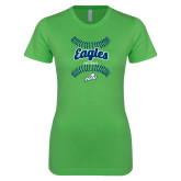 Next Level Ladies SoftStyle Junior Fitted Kelly Green Tee-Softball Seams