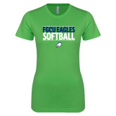 Next Level Ladies SoftStyle Junior Fitted Kelly Green Tee-Softball Stacked