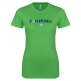 Next Level Ladies SoftStyle Junior Fitted Kelly Green Tee-Volleyball w/ Ball