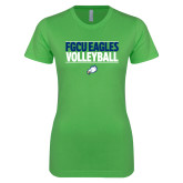 Next Level Ladies SoftStyle Junior Fitted Kelly Green Tee-Volleyball Stacked
