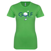 Next Level Ladies SoftStyle Junior Fitted Kelly Green Tee-Golf Flag and Ball