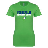 Next Level Ladies SoftStyle Junior Fitted Kelly Green Tee-Swimming and Diving Stacked