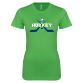 Next Level Ladies SoftStyle Junior Fitted Kelly Green Tee-Hockey Crossed Sticks w/ Puck