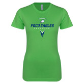 Next Level Ladies SoftStyle Junior Fitted Kelly Green Tee-Lacrosse Abstract Stick
