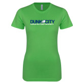Next Level Ladies SoftStyle Junior Fitted Kelly Green Tee-Dunk City Official Logo