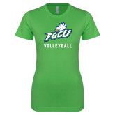 Next Level Ladies SoftStyle Junior Fitted Kelly Green Tee-Volleyball