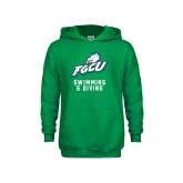 Youth Kelly Green Fleece Hoodie-Swimming and Diving
