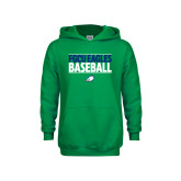 Youth Kelly Green Fleece Hoodie-Baseball Stacked