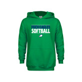 Youth Kelly Green Fleece Hoodie-Softball Stacked
