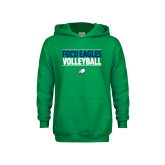 Youth Kelly Green Fleece Hoodie-Volleyball Stacked