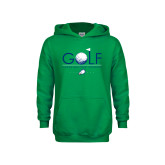 Youth Kelly Green Fleece Hoodie-Golf Flag and Ball