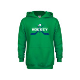 Youth Kelly Green Fleece Hoodie-Hockey Crossed Sticks w/ Puck