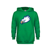 Youth Kelly Green Fleece Hoodie-Eagle Head