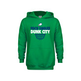 Youth Kelly Green Fleece Hoodie-Dunk City Stacked w/ Net