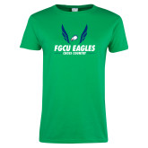 Ladies Kelly Green T Shirt-Cross Country Wings