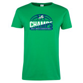 Ladies Kelly Green T Shirt-Regular Season Champions 2017 Mens Basketball Half Ball Design