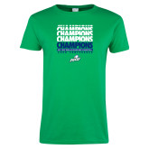 Ladies Kelly Green T Shirt-Regular Season Champions 2017 Mens Basketball Champions Repeating