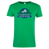 Ladies Kelly Green T Shirt-ASUN Champions 2017 Mens Basketball