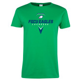 Ladies Kelly Green T Shirt-Lacrosse Abstract Stick