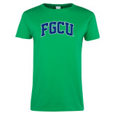 Ladies Kelly Green T Shirt-Arched FGCU