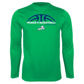 Performance Kelly Green Longsleeve Shirt-Basketball Half Ball