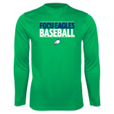 Performance Kelly Green Longsleeve Shirt-Baseball Stacked